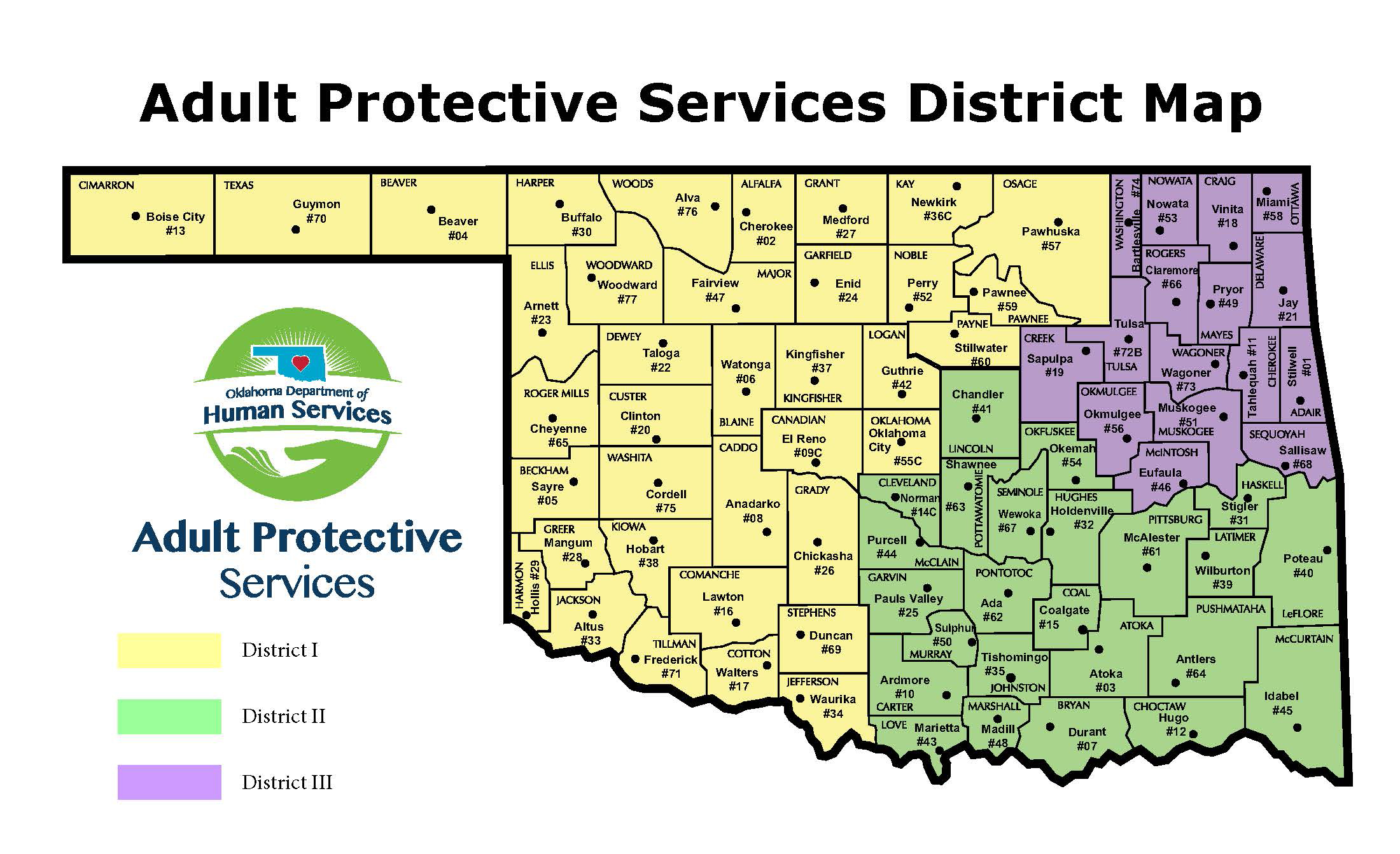 Map of Oklahoma showing the 3 Districts for Adult Protective Services. More information about the offices follows below.