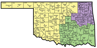 Map of Oklahoma showing the 3 Districts for Adult Protective Services