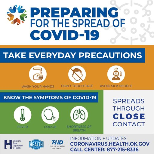 PREPARING FOR THE SPREAD OF COVID-19; TAKE EVERYDAY PRECAUTIONS: Wash your hands, Don't touch your face, Avoid sick people